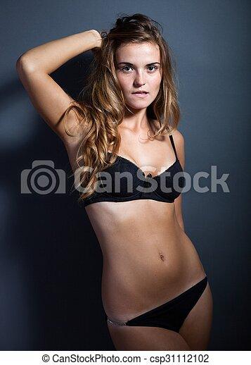 120d1ab3327 Portrait of hot woman in lingerie