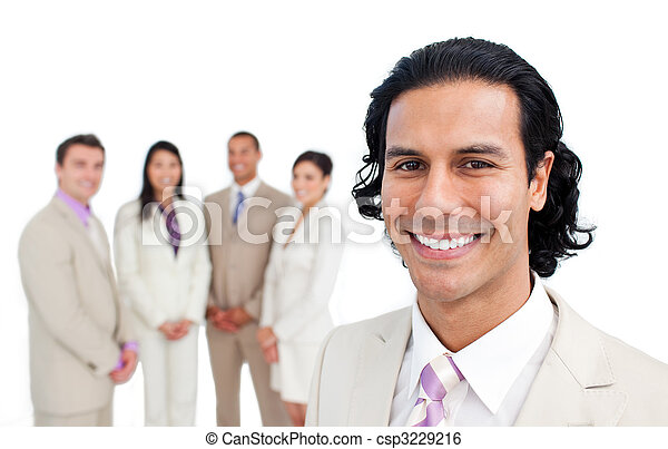 Portrait of latin businessman smiling with his team - csp3229216