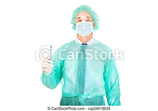 Portrait of male doctor with a scalpel - csp24018639