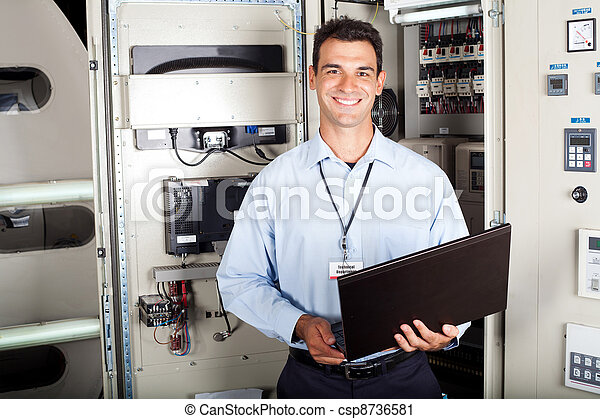 portrait of male industrial engineer - csp8736581