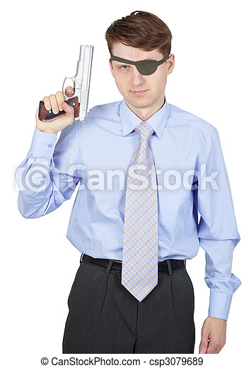 Portrait of man armed with a pistol on white background - csp3079689