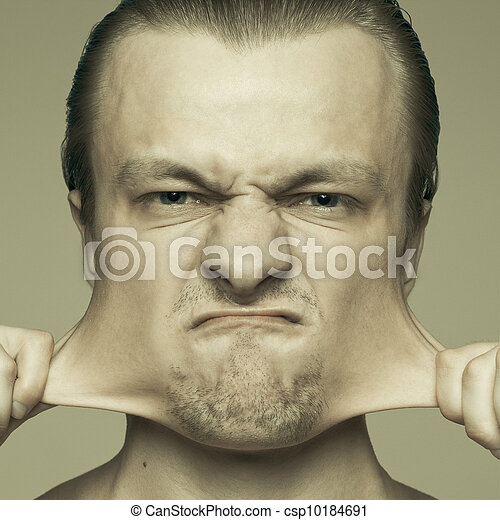 portrait of man stretching out his cheeks - csp10184691