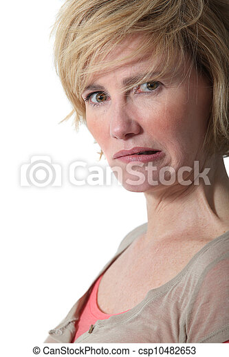 Portrait of mature woman grinning - csp10482653