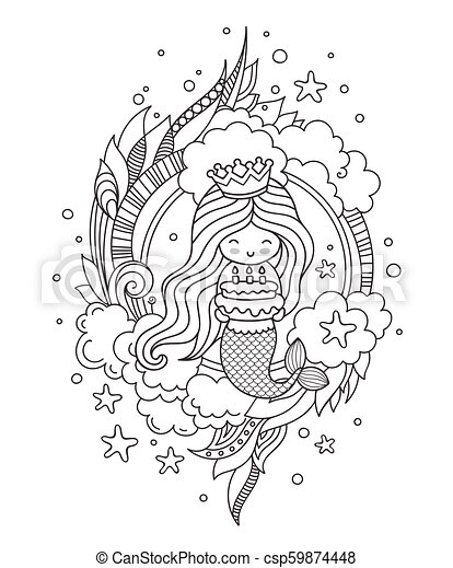 Portrait Of Mermaid With Birthday Cake Cute Little Girl Page For Coloring Book Greeting Card Print T Shirt Poster Hand Drawn Vector Outline
