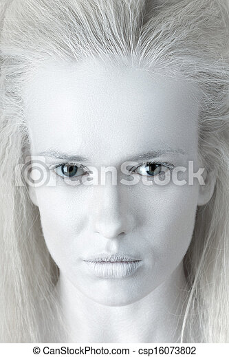 Portrait of mysterious albino woman - csp16073802