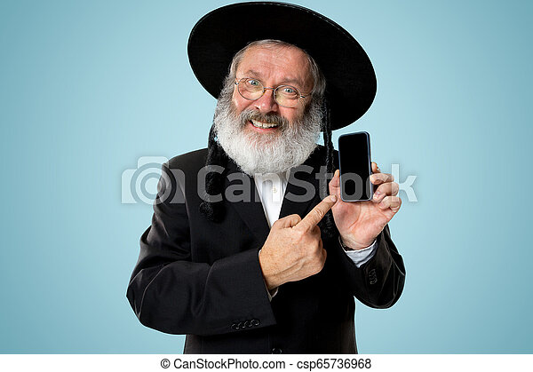 Portrait of old senior orthodox Hasdim Jewish man - csp65736968