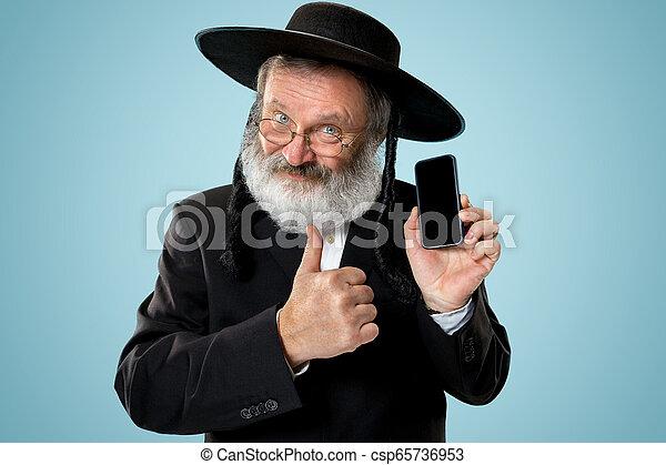 Portrait of old senior orthodox Hasdim Jewish man - csp65736953