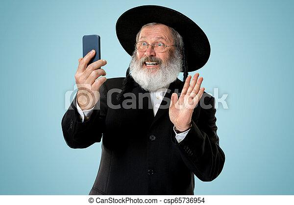 Portrait of old senior orthodox Hasdim Jewish man - csp65736954