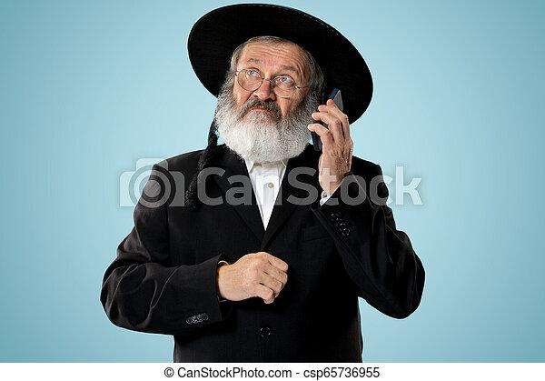 Portrait of old senior orthodox Hasdim Jewish man - csp65736955