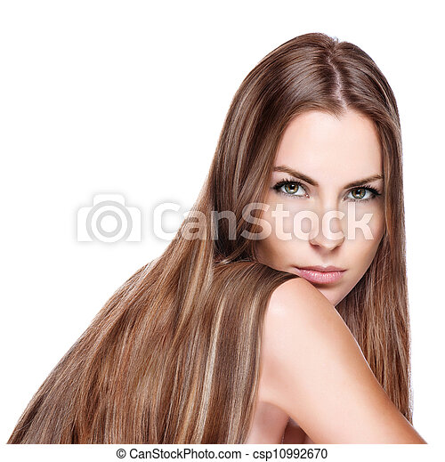 Portrait of pretty young smiling woman with straight long hair  - csp10992670