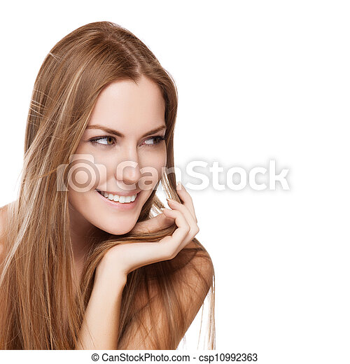 Portrait of pretty young smiling woman with straight long hair - csp10992363