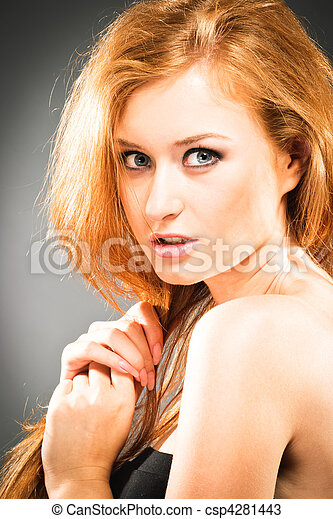 Portrait of red-haired woman - csp4281443