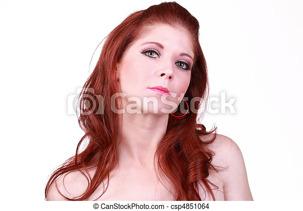 Portrait of redhead caucasian woman bare shoulders - csp4851064