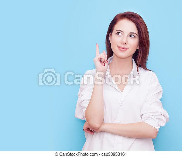 Portrait of redhead woman - csp30953161