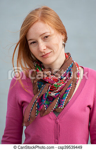 Portrait of redhead woman - csp39539449