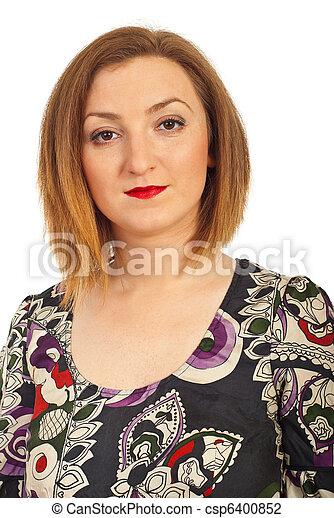 Portrait of redhead woman - csp6400852