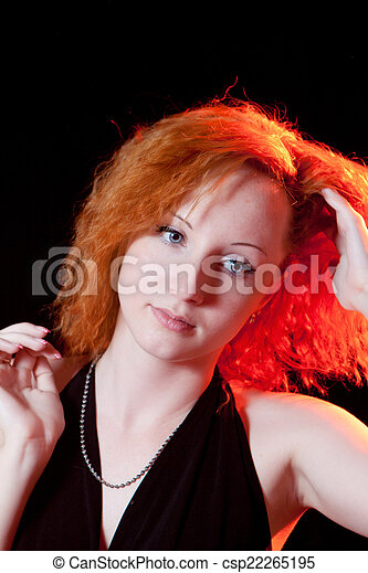 portrait of redhead woman - csp22265195