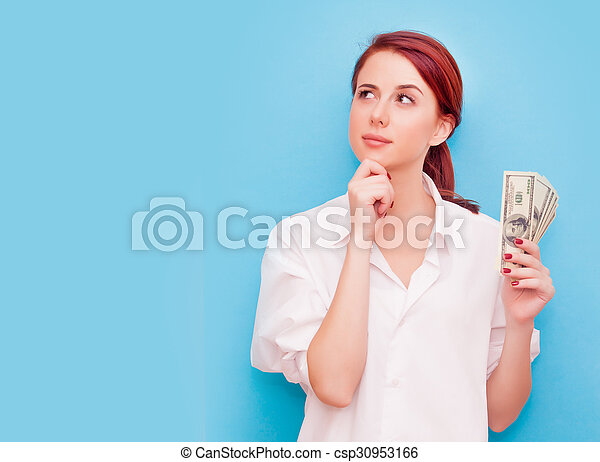 Portrait of redhead woman with money - csp30953166