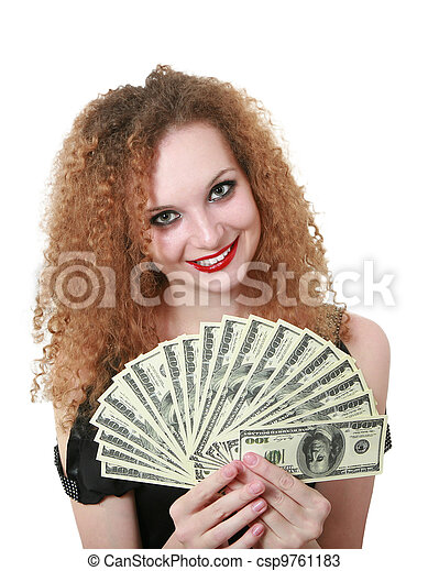 portrait of redhead woman with money - csp9761183