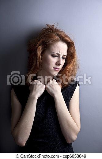 Portrait of sad girl in 80s style. - csp6053049