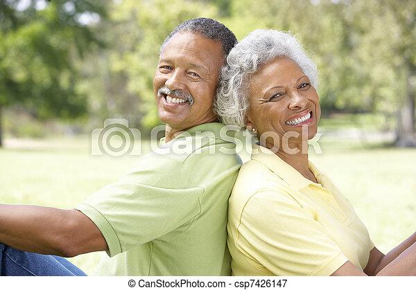Portrait Of Senior Couple In Park - csp7426147