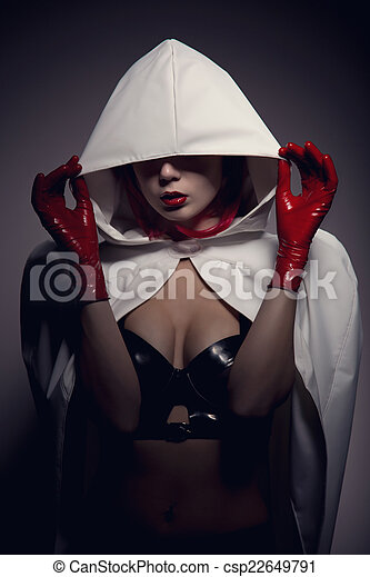 Portrait of sensual vampire girl with red lips  - csp22649791