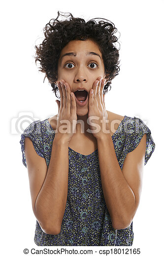 portrait of shocked hispanic woman with mouth open - csp18012165