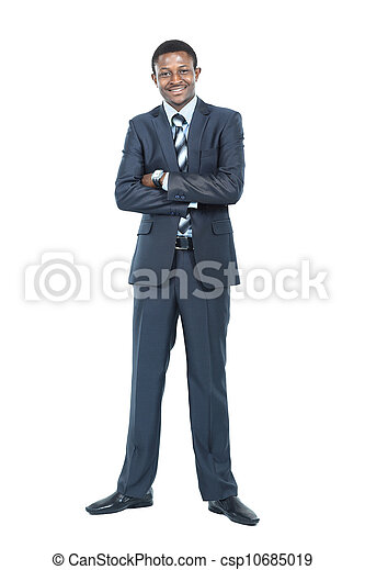 Portrait of smiling African American business man standing over white background - csp10685019