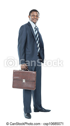 Portrait of smiling African American business man standing over white background - csp10685071