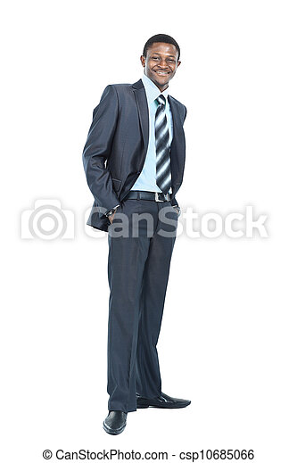 Portrait of smiling African American business man standing over white background - csp10685066