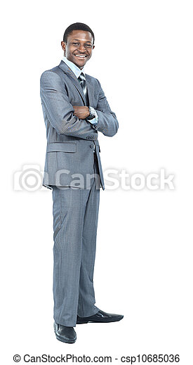 Portrait of smiling African American business man standing over white background - csp10685036