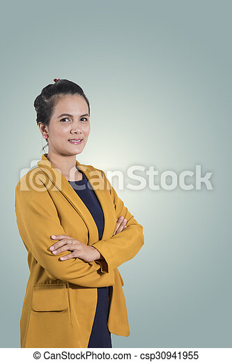Portrait of smiling business woman - csp30941955