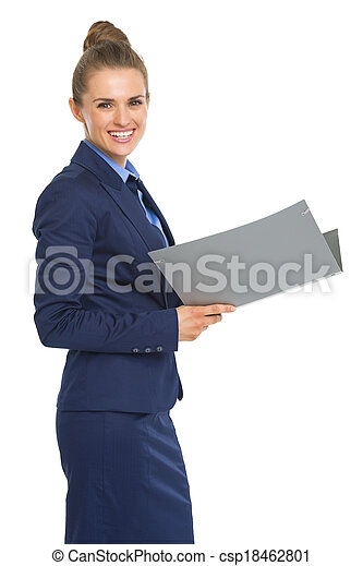 Portrait of smiling business woman with documents - csp18462801