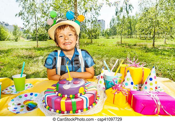 Super Portrait Of Smiling Kid Boy Making A Birthday Wish Portrait Of Personalised Birthday Cards Sponlily Jamesorg