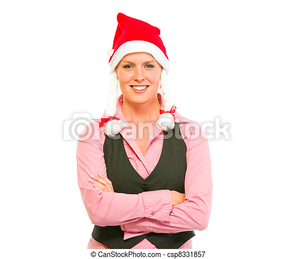 Portrait of smiling modern business woman in Santa Hat - csp8331857