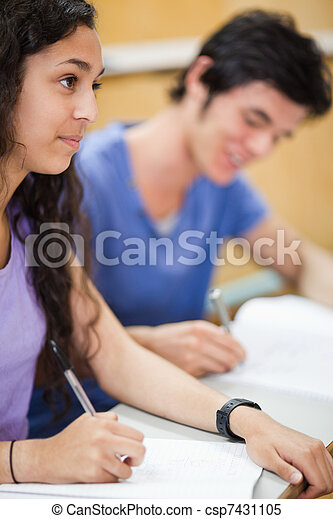 Portrait of smiling students writing - csp7431105