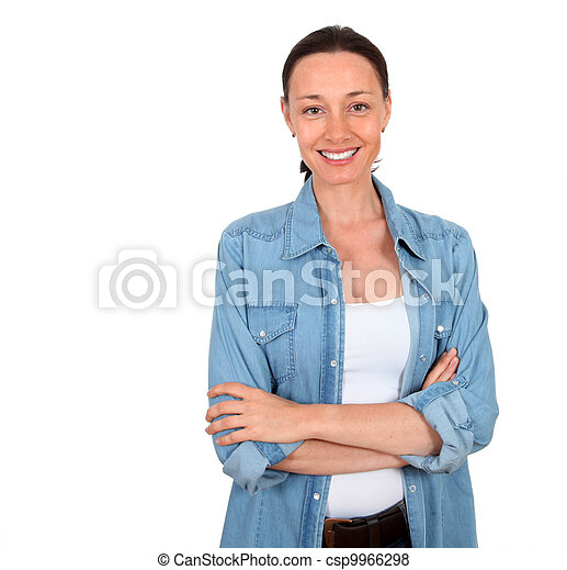 Portrait of smiling woman on white background - csp9966298