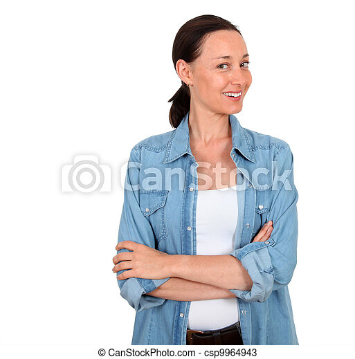 Portrait of smiling woman on white background - csp9964943
