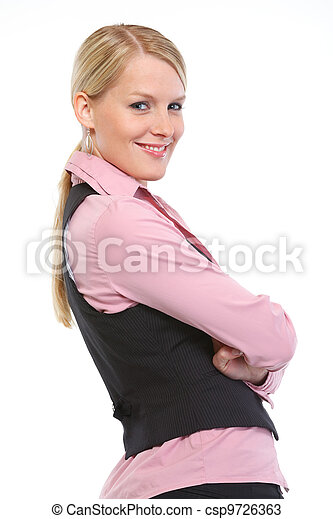 Portrait of smiling woman with crossed arms - csp9726363