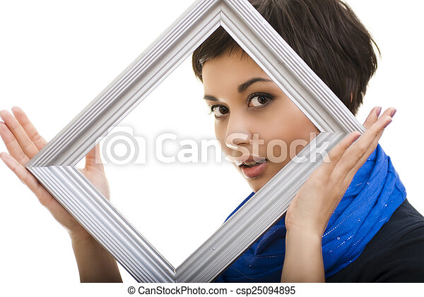 Portrait of smiling woman with frame - csp25094895