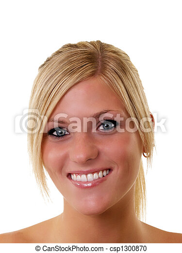 Portrait of smiling young blond woman blue eyes - csp1300870