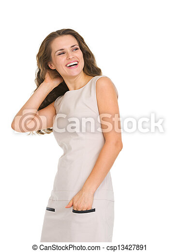 Portrait of smiling young woman looking on copy space - csp13427891