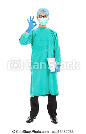 portrait of surgeon or checker in mask and thumb up - csp18432288