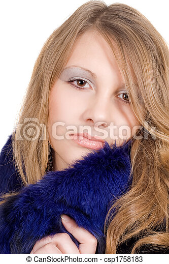 Portrait of the beauty young woman over white - csp1758183