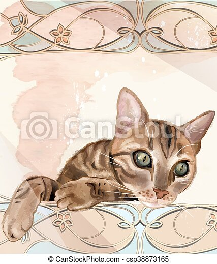 Portrait of  the cat in watercolor style. Cat has been drawn with brushes from Adobe Illustrator without auto tracing. Cat can be used for t-shirt design - csp38873165