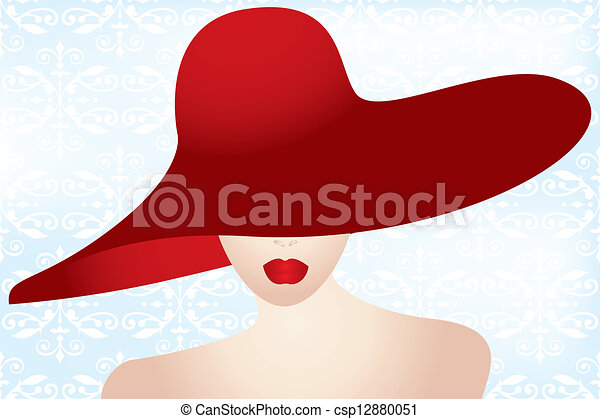 acaaec00052f0 Portrait of the lady with the red hat - vintage retro eps10 ...