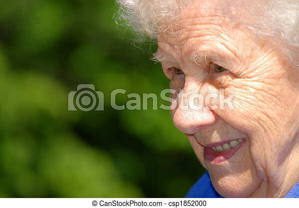 Portrait of the old woman on a green background - csp1852000