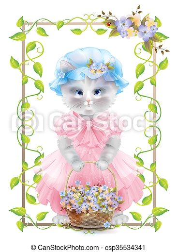 Portrait of the vintage cat with basket. Birthday card. Holiday congratulation. Greeting card. Frame with ivy and violets. - csp35534341