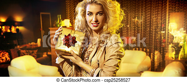 Portrait of the woman with a gift - csp25258527