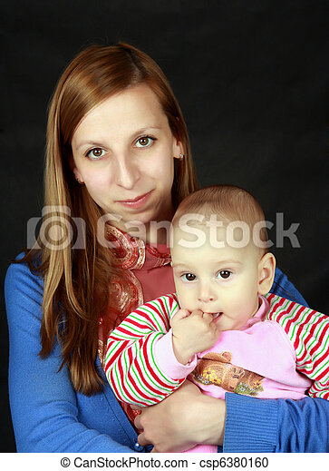 Portrait of the woman with the child - csp6380160